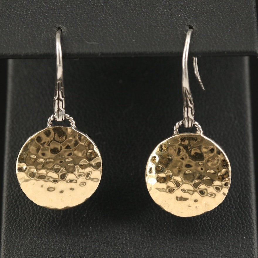 John Hardy Sterling Hammered Drop Earrings with 18K Accents