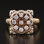 Vintage 10K Diamond Ring with High Gallery