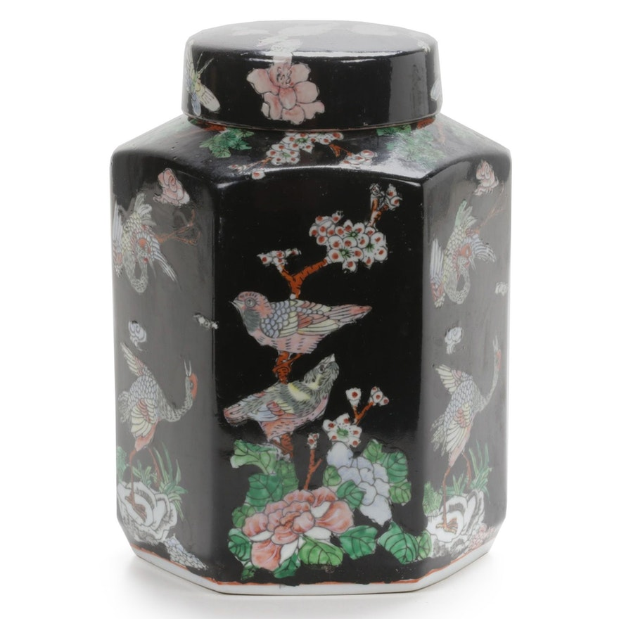 Chinese Hand-Painted Ceramic Hexagonal Lidded Ginger Jar