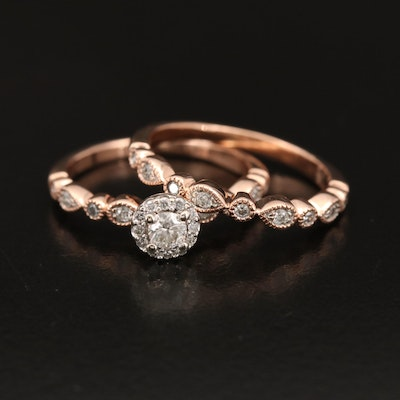 10K Rose Gold Diamond Ring and Shadow Band Set