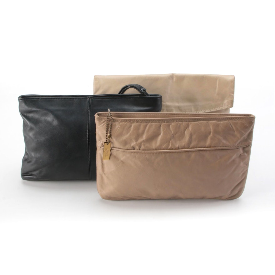 Letisse and Other Leather Zip Clutches and Wristlet