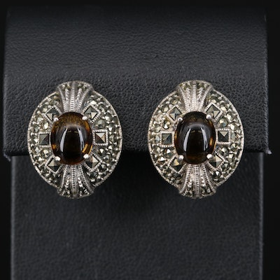 Judith Jack Sterling Glass and Marcasite Clip Earrings