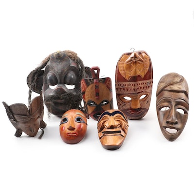 Sri Lankan, Polynesian, Korean, and Other Carved Wooden Masks