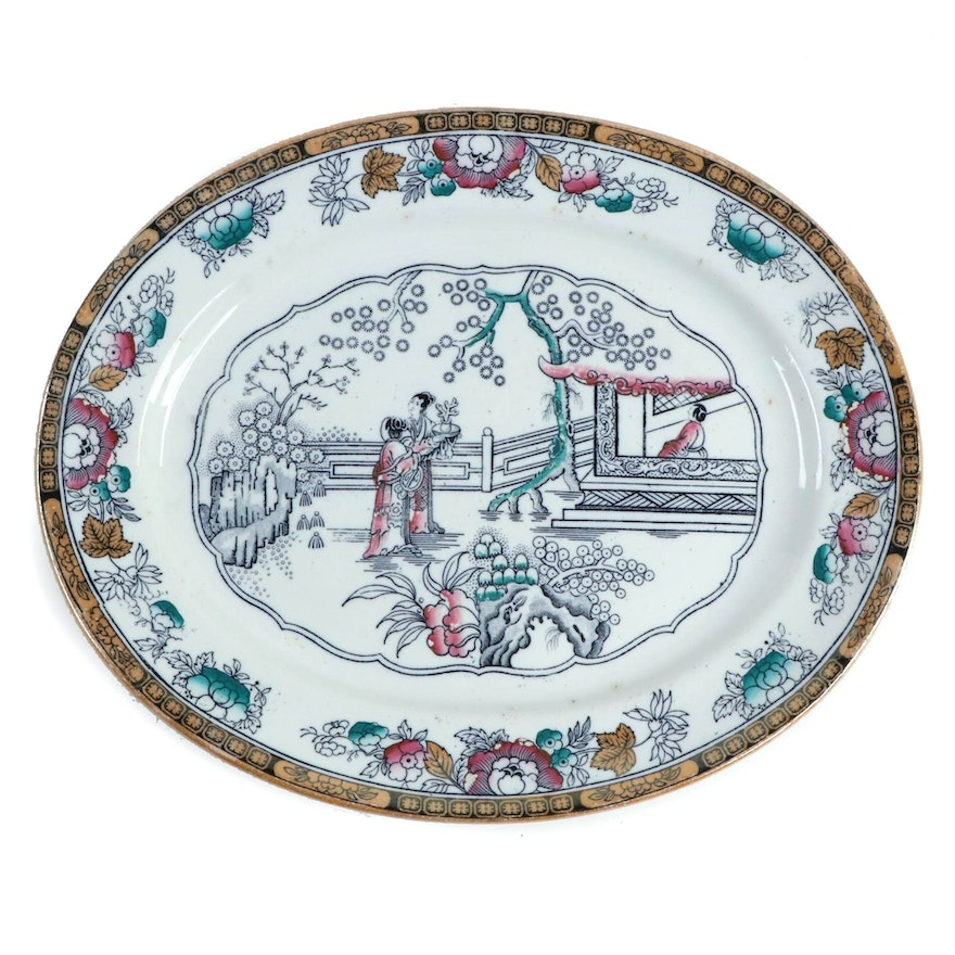 "Ashworth Bros. ""Chinese Pattern"" Oval Ironstone Platter, Late 19th Century"