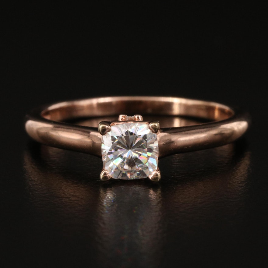Sterling Moissanite Ring with Heart Peekaboo