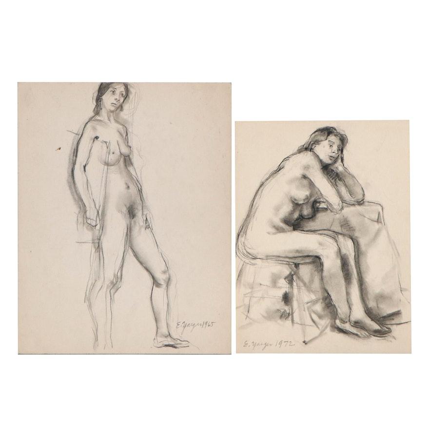 Edgar Yaeger Charcoal Drawings of Female Nudes, 1965 - 1972