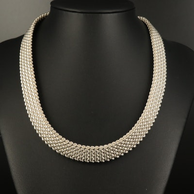 Italian Sterling Silver Mesh Necklace