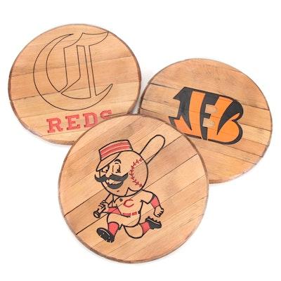 Cincinnati Reds and Bengals Team Logos Oak Barrel Heads