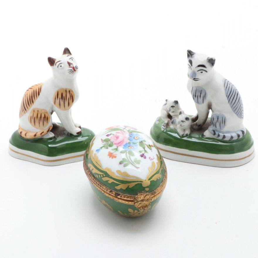 Samson Chelsea Porcelain Cat Figurines and Limoges Porcelain Box