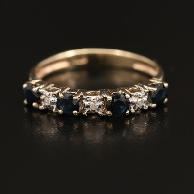 10K Sapphire and Diamond Band