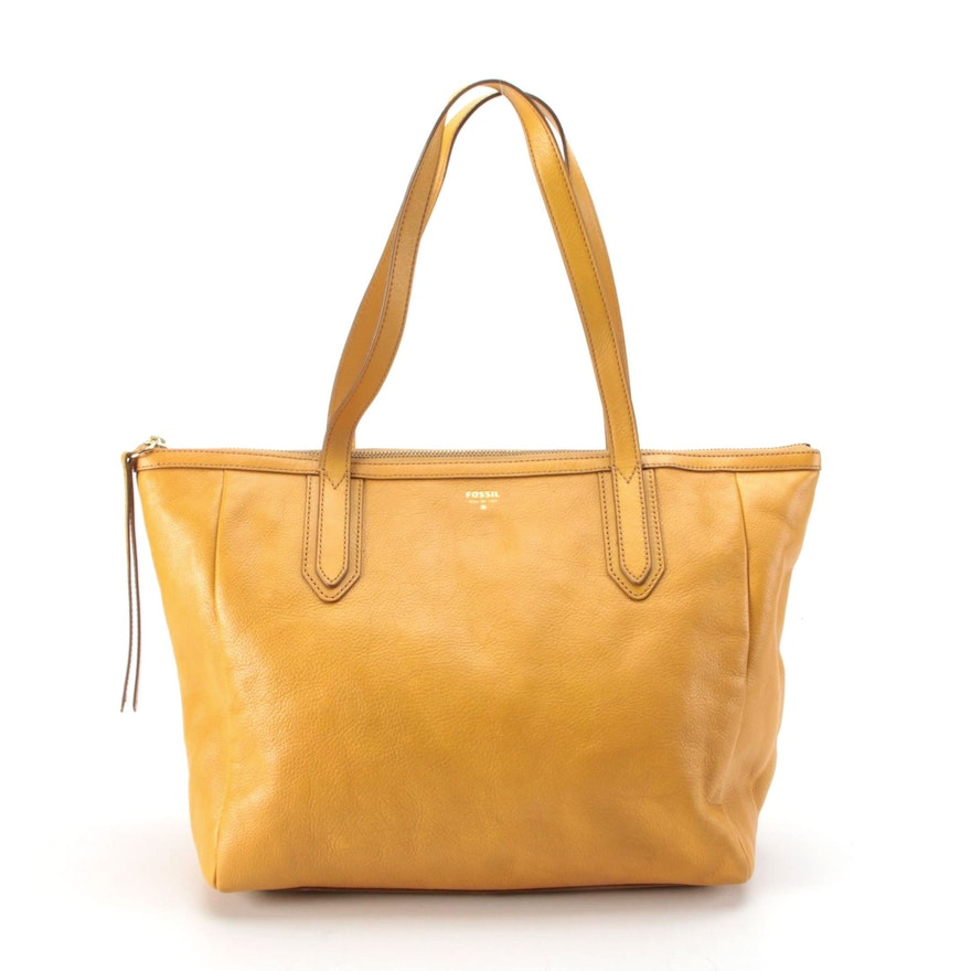 Fossil Yellow Leather Zip Tote