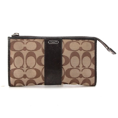 Coach Signature Canvas and Brown Leather Zip Wallet