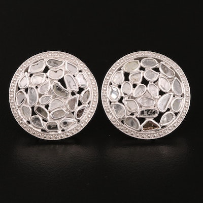 Sterling Diamond Cluster Earrings