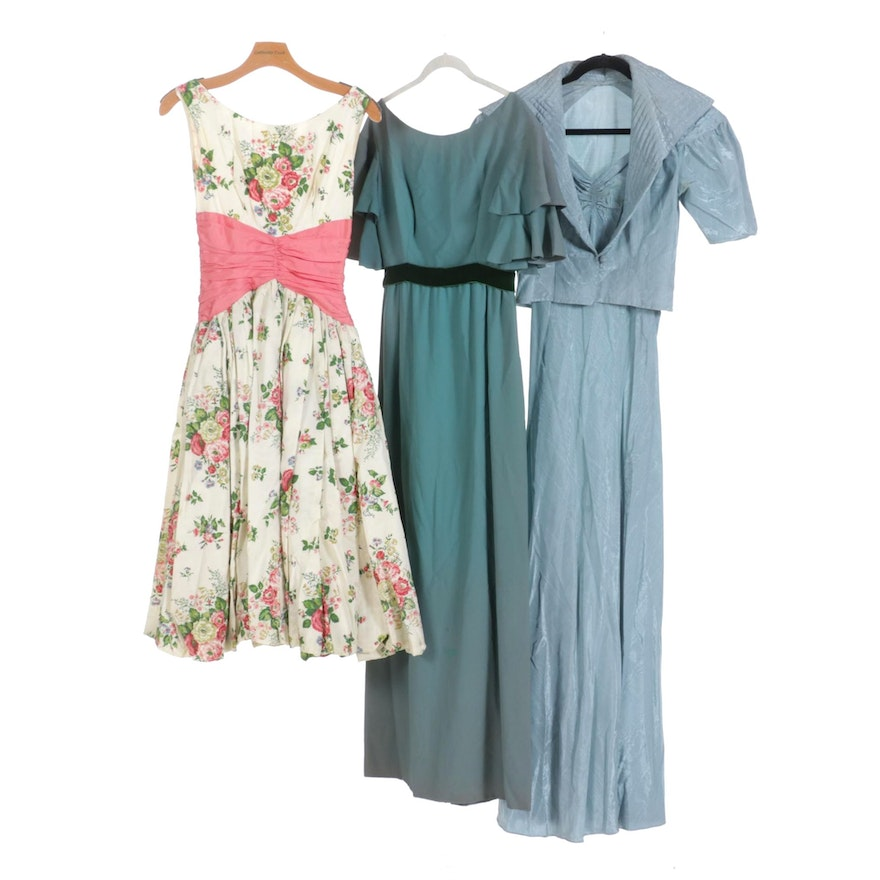 Floral Print Dress with Ruched Waist, Formal Dress, and Jacket and Dress Set