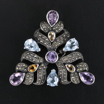 Sterling Amethyst, Citrine and Topaz Triangular Brooch