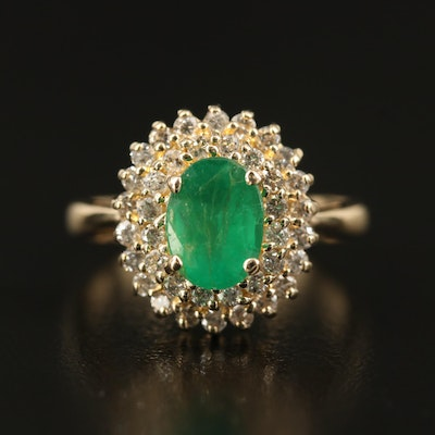 14K 1.07 CT Emerald and Diamond Double Halo Ring