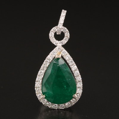 14K 3.70 CT Emerald and Diamond Teardrop Pendant