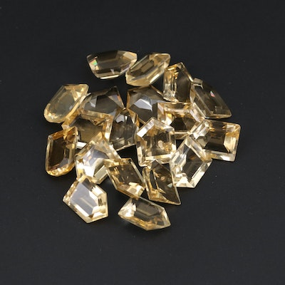 Loose 45.81 CTW Bullet Faceted and Modified Window Faceted Citrines