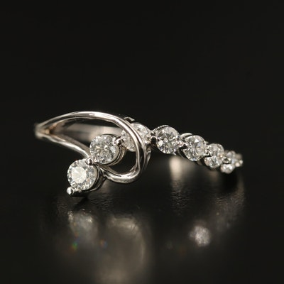 14K Graduated Diamond Loop Ring