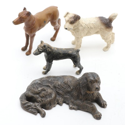 Painted Cast Metal Dog Figurines, Early 20th Century