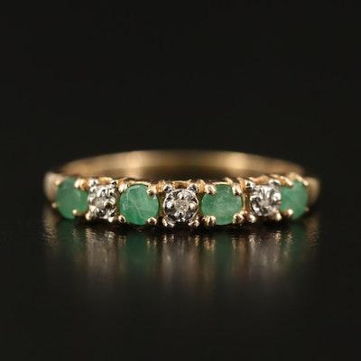14K Emerald and Diamond Band