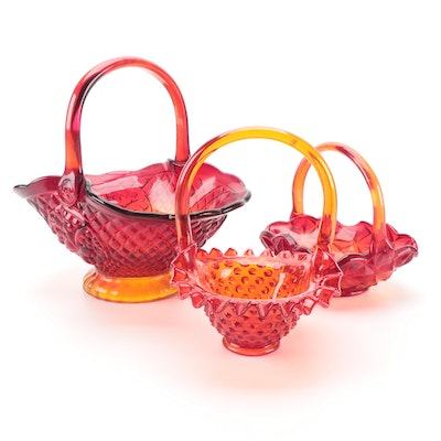 Fenton Hobnail and Other Amberina Glass Baskets, Mid to Late 20th Century