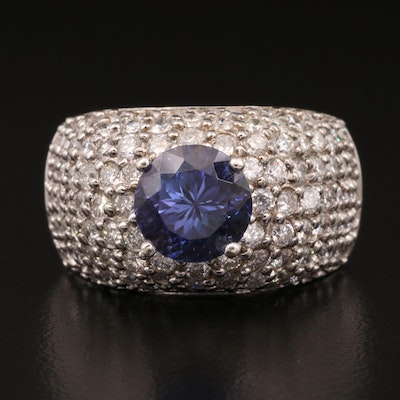 14K 4.15 CT Tanzanite and 4.21 CTW Diamond Ring