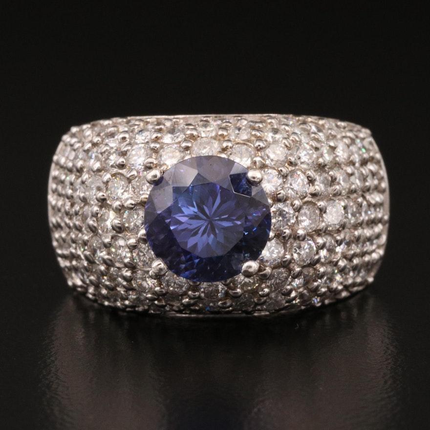 14K 4.15 CT Tanzanite and 4.21 CTW Diamond Ring