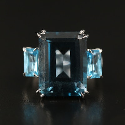 14K 14.70 CT London Blue Topaz, Diamond and Topaz Ring