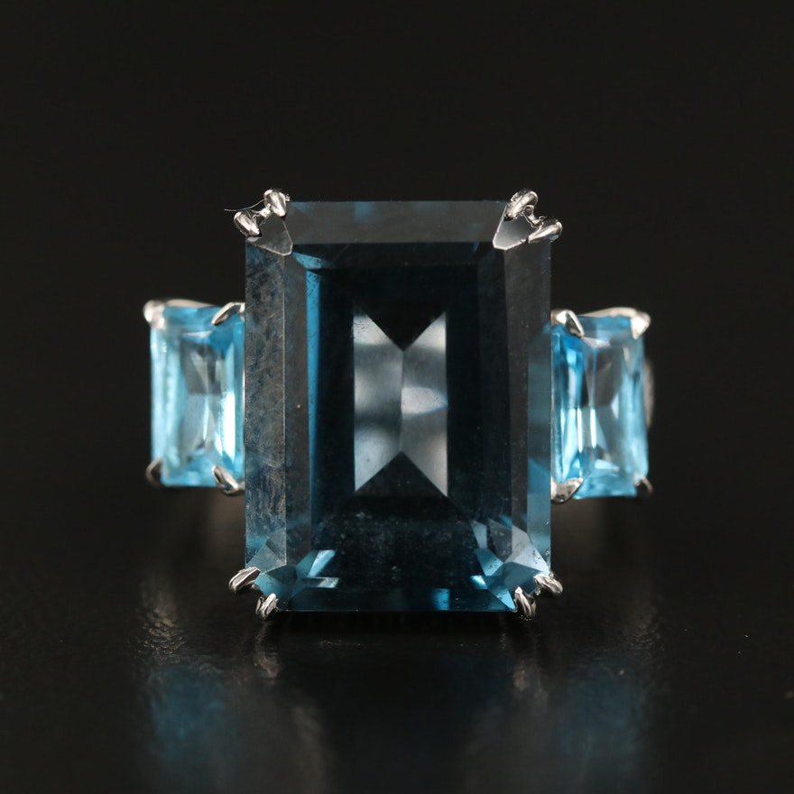 14K 14.70 CT London Blue Topaz, Diamond and Topaz Ring