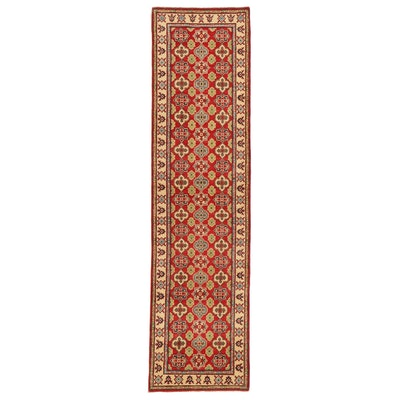 2'8 x 10'7 Hand-Knotted Afghan Kazak Carpet Runner