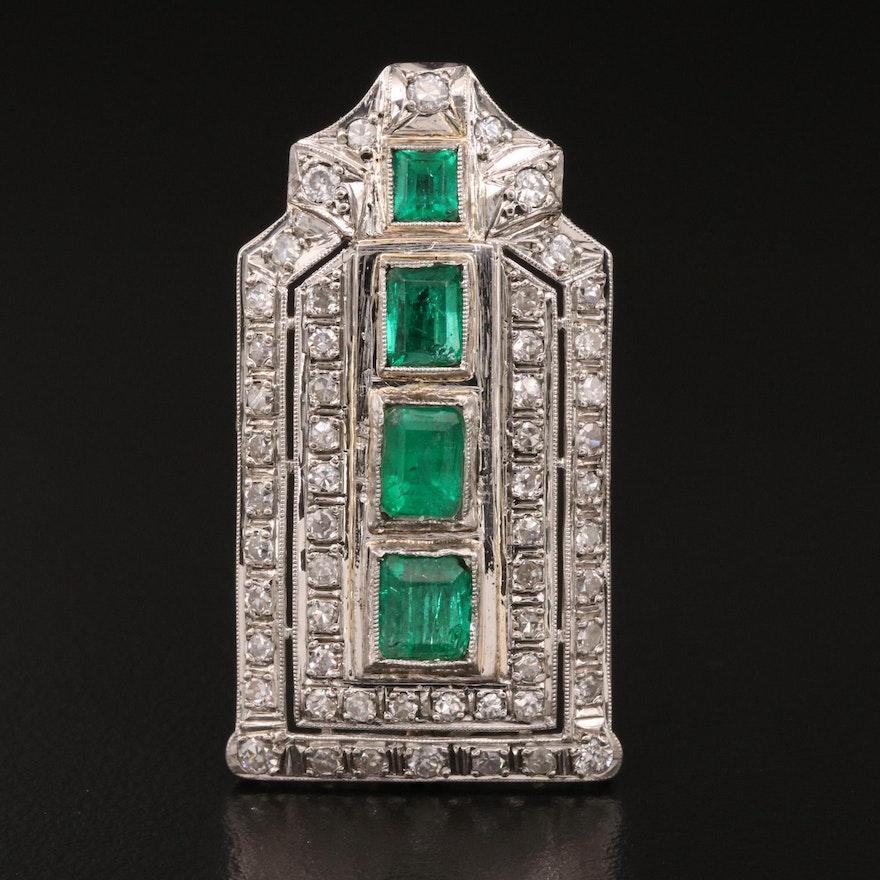 Art Deco Platinum Emerald and Diamond Brooch