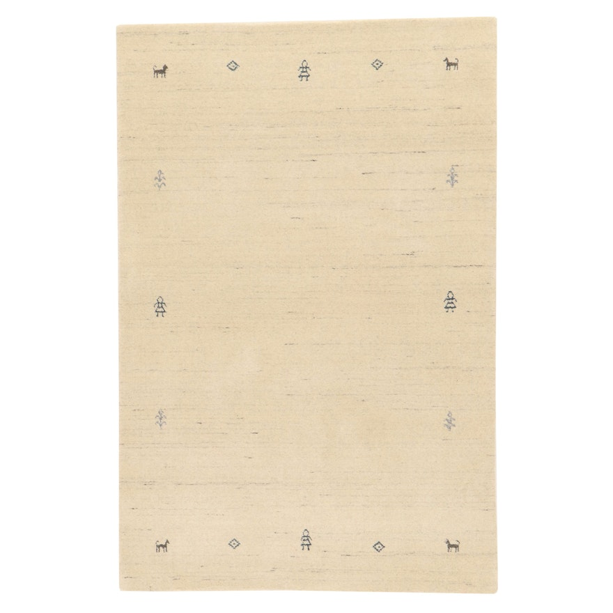 3'11 x 5'11 Hand-Knotted Indo-Persian Gabbeh Area Rug