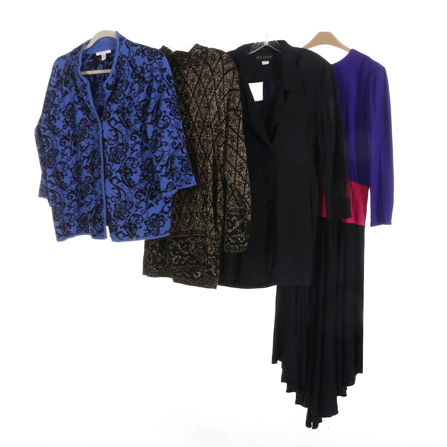 Pierre Cardin Metallic Knit Sweater with Other Dresses and Knit Cardigan Jacket
