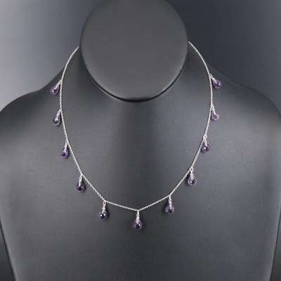 14K Amethyst Station Necklace