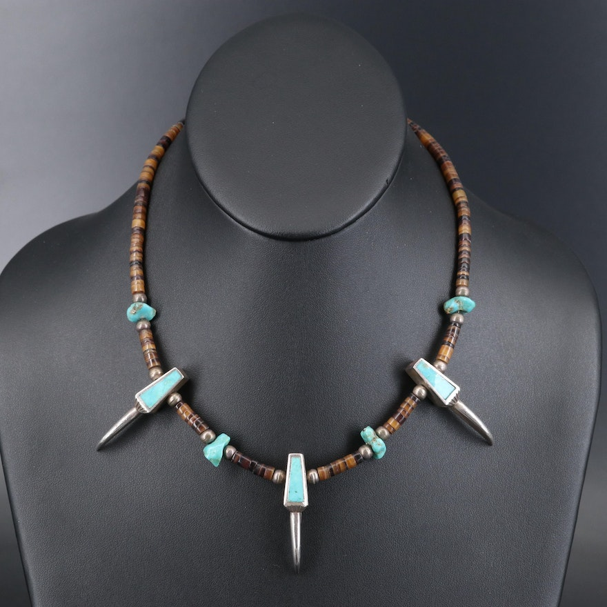 Southwestern Style Sterling Turquoise and Horn Necklace with Claw Motif
