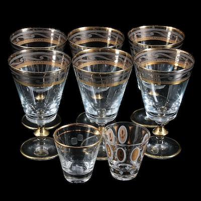 J. Preziosi Italian Gold and Silver Trim Wine Goblets and Shot Glasses