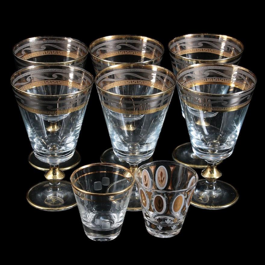 J. Preziosi Italian Gold and Silver Trim Wine Goblets and Shot Glasses