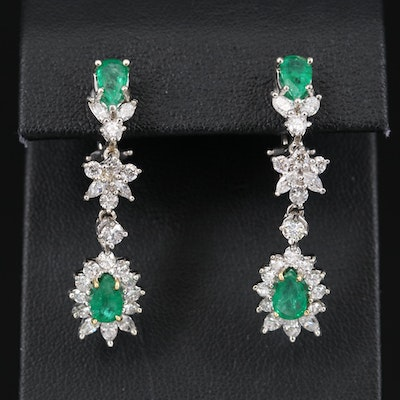 14K Emerald and 1.80 CTW Diamond Earrings
