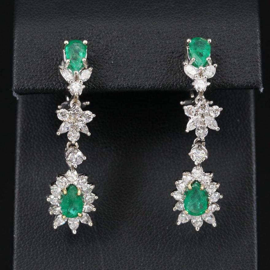 14K Emerald and 1.80 CTW Diamond Earrings