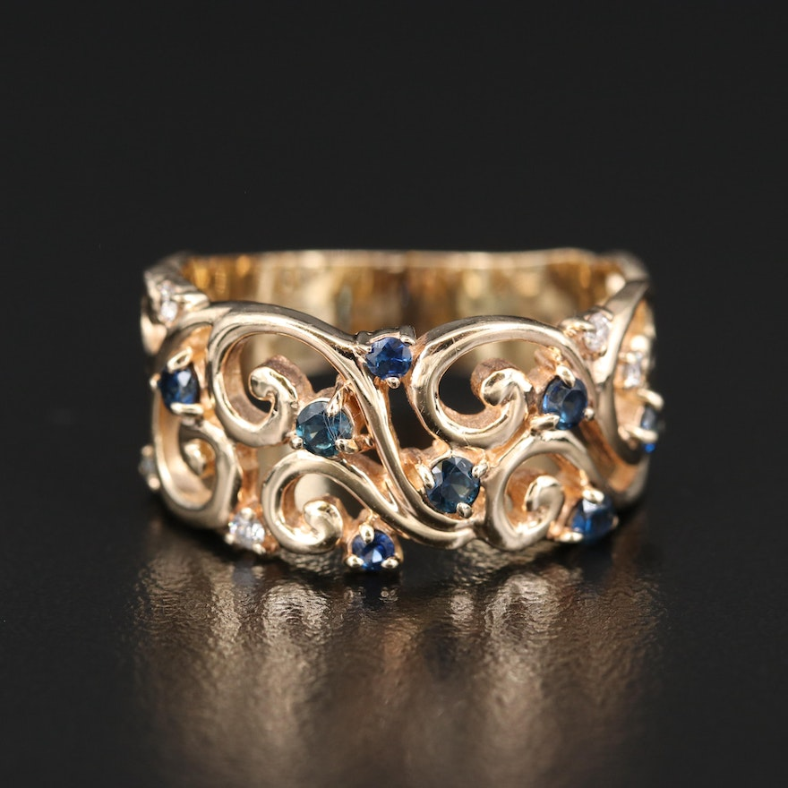 "EFFY ""D'Oro"" 14K Sapphire and Diamond Openwork Ring"