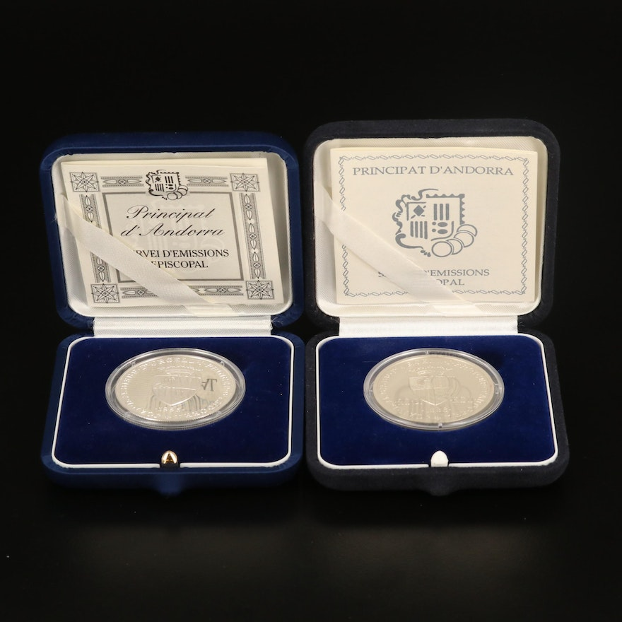 1996 Andorra 10 Diners Silver Coin and 20 Diners Silver Coin with Gold Inlay