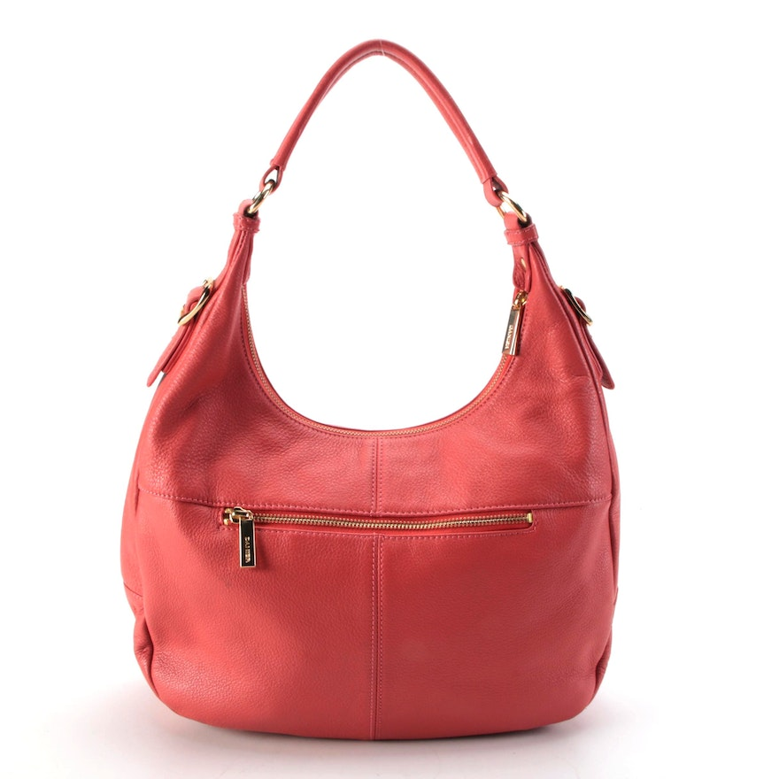 Danier Hobo Bag in Coral Grained Leather