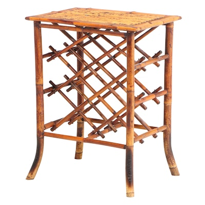 Bamboo Side Table with Wine Bottle Rack