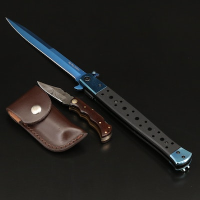 Elite Edge Spring Assisted Knife and Damascus Steel & Walnut Mini Folding Knife