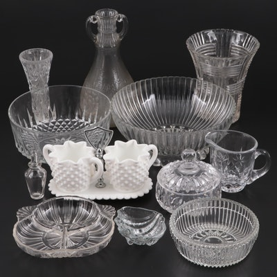 "Gorham ""Althea"" Crystal Candy Dish with Other Crystal and Glass Tableware"
