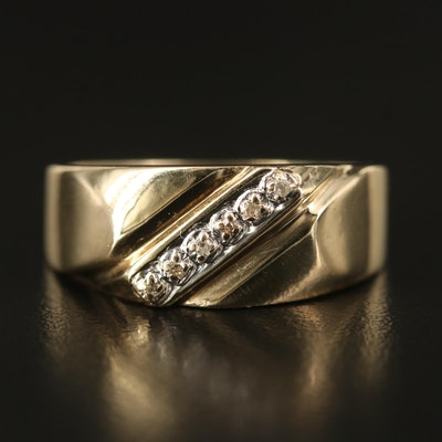 10K Diamond Ring with Diagonal Illusion Setting