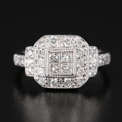 14K Diamond Halo Ring