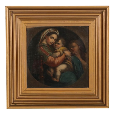 "Chromolithograph after Raphael ""Madonna della Seggiola,"" Early 20th Century"