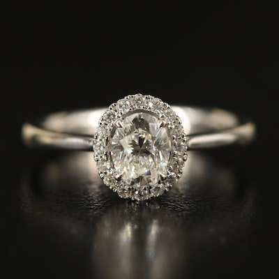 18K Diamond Halo Ring with Tapered Band